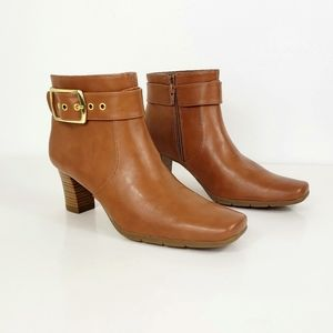 Aerosoles Third Ave Boots Tan/Gold Buckle  New